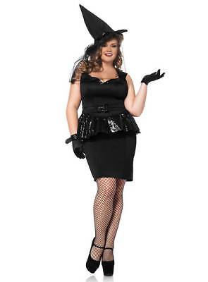 Funkelndes Retro Hexe XXL Kostüm Halloween Damen Hexenkostüm Übergröße bis - Damen Kostüm Übergröße