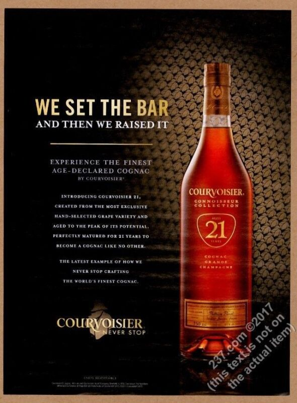 2010 Courvoisier 21 year old cognac bottle photo vintage print ad