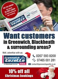 **CHARITY ADVERTISING FIELD SALES REPRESENTATIVE, GREENWICH GAZETTE & BLACKHEATH, SOUTH EAST LONDON