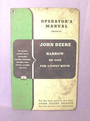 John Deere Operators Manual - Harrow Hd 2240 -3-point