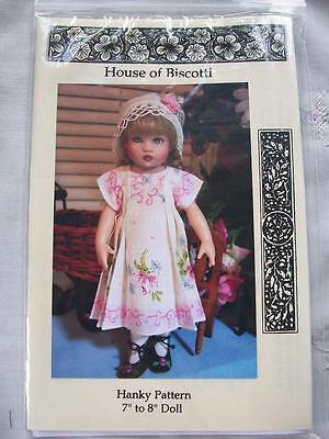 "8"" Doll Hanky Patterns Dresses, Hats"