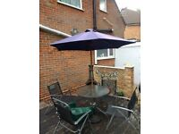 Garden Parasol, Table and 4 chairs