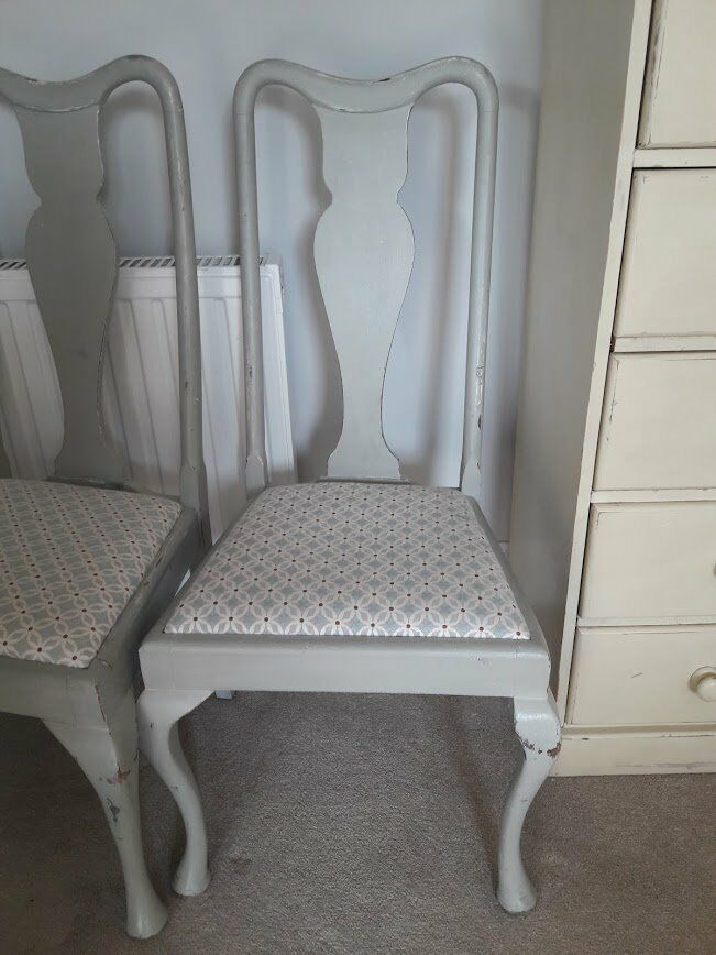 Pair Of Queen Anne Style Grey Painted Chairs   £10 Each