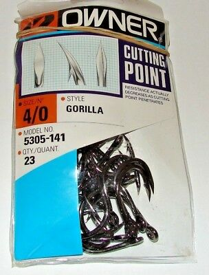 - OWNER RINGED GORILLA Cutting Point 5305-141 Size 4/0 23 HOOKS PER PACK