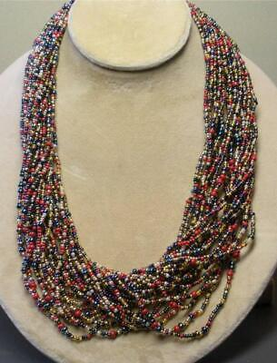 """JOAN RIVERS GOLD PLATED RED MIX SEED BEAD TORSADE 36"""" NECKLACE NEW IN BOX"""