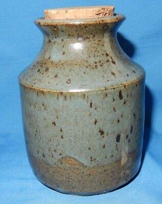 "Handthrown Pottery 4 1/2"" tall Blue Green Drip Celadon Bottle w/ Cork Signed"