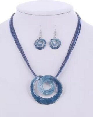 Blue Teal Plating Circle Pendant Wax Rope Necklace and Earrings set Blue Circle Pendant