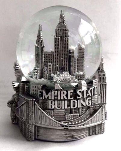 Silver New York City Snow Globe 3.5 Inch empire State building,Skyline Liberty