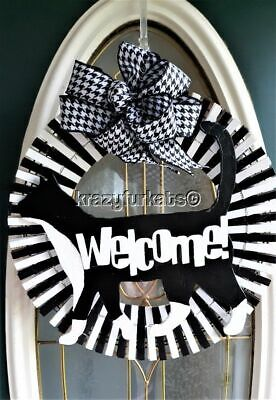 Tuxedo Cat Welcome clothespin wreath for door, patio or wall.