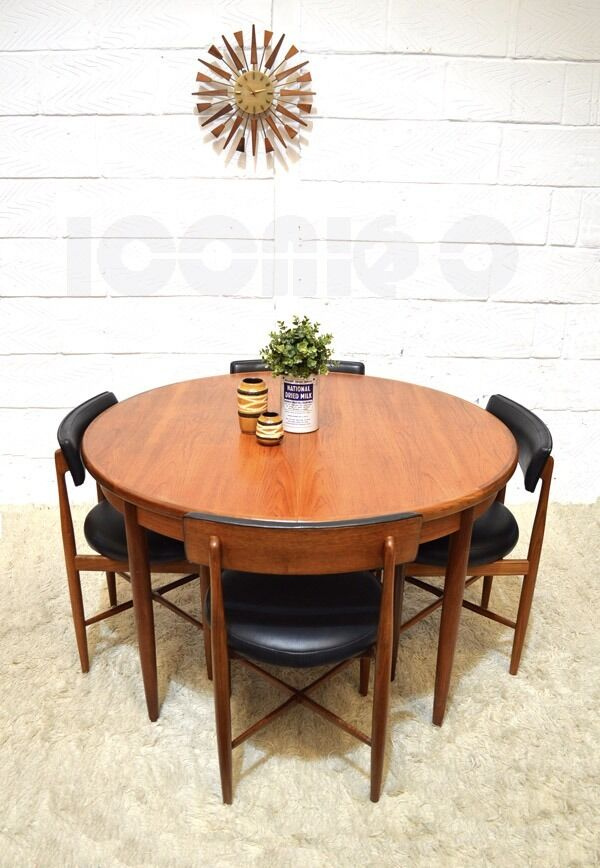 60S 70S STUNNING RETRO G PLAN FRESCO EXTENDABLE ROUND TABLE AND 4 ...