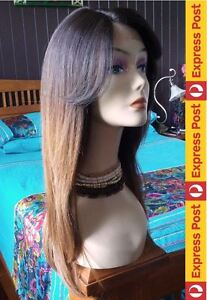 ISIS BS201 HUMAN HAIR Blend SWISS Lace Front-Part ST4/27 BROWN-AUBURN OMBRE wig