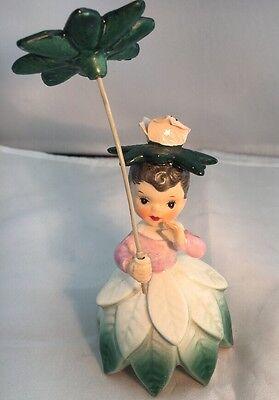 Vintage Napco Flower Girl A1949 Green Pink Grew 1956
