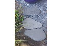 Three slate grey stepping stones