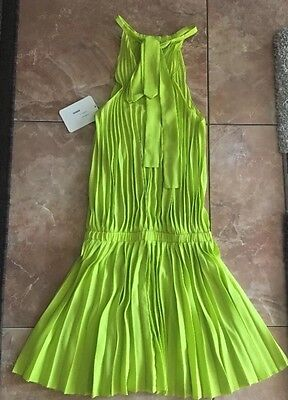 Nwt Alexis  474 Pleated Sleeveless Dress S Small Lime Green