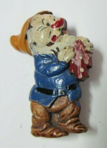 1938 Rare Walt Disney Snow White & Seven Dwarfs Vintage Sneezy Hand Painted Pin
