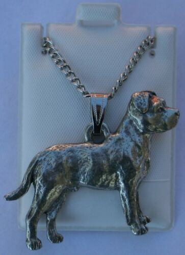 Pit Bull Terrier Uncrop Dog Harris Fine Pewter Pendant w Chain Necklace USA Made