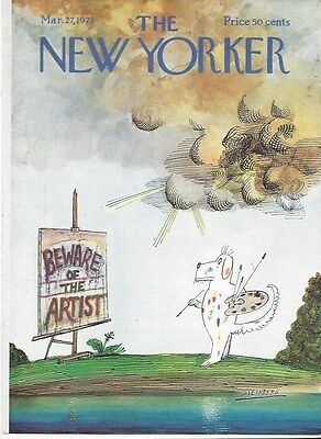 Cover Only  The New Yorker Magazine  March 27 1971 Saul Steinberg Beware Artist