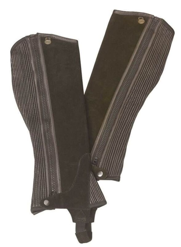 Ovation Ribbed Suede Leather Half Chaps - Adult - BLACK - All Sizes