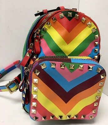 Valentino  Rock stud Multi Color Backpack Gold Studs Small