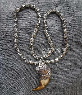 Wild teeth Tibet silver tiger Amulet Pendant,Buddha head beads necklace