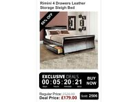 Bed Rimini 4 Drawers Leather Storage Sleigh Bed