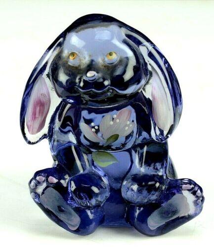 Fenton Glass Bunny Rabbit Figurine Violet Purple Flower Hand Painted Signed