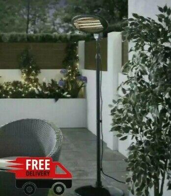 Freestanding Oval Patio Heater 2KW Electric Quartz Outdoor Waterproof Garden