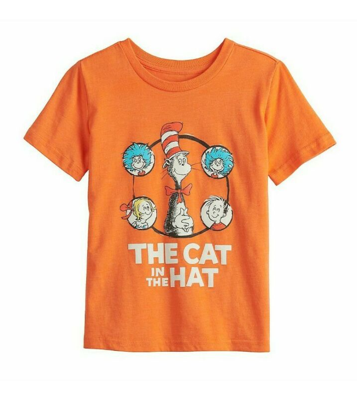 Boys Dr Seuss Cat in the Hat Graphic T-Shirt Size 5-12 NEW