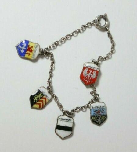 Vintage Sterling Silver Enamel German Cities & Towns 5 Charm Bracelet