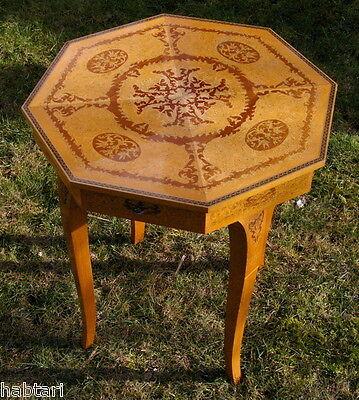 hochwertiger 8-eckiger Tisch aufklappbar Intarsienarbeit & Messing Beistelltisch