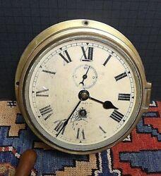 Antique T.L. Ainsley Ltd. England Maritime/Ship's Brass Bulkhead Clock Working