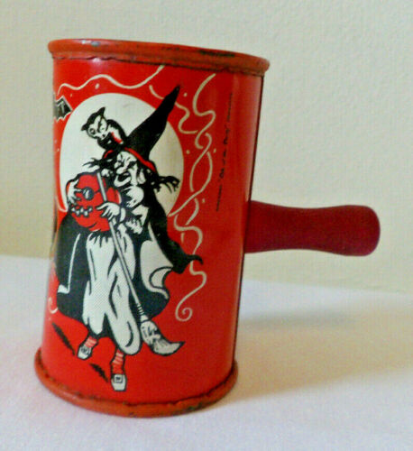 Vintage Kirchhof Halloween Witch Barrel Noisemaker Life of The Party 1940s