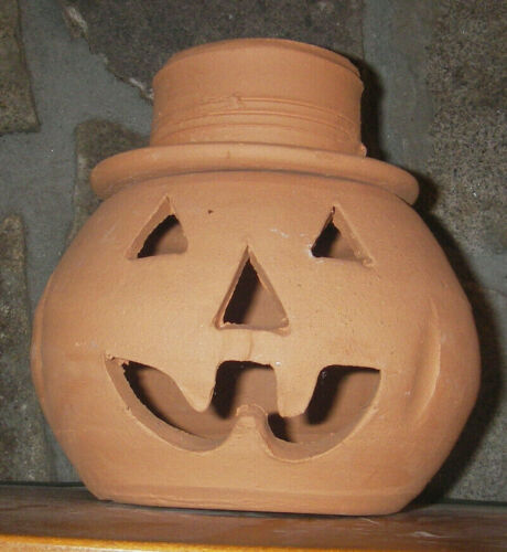 "7"" Terracotta Halloween Unglazed Pottery Pumpkin Jack O Lantern w/Top Hat"