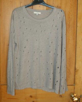 Distressed grey 100% linen knit IRO long sleeved jumper top oversized  XS 8 10