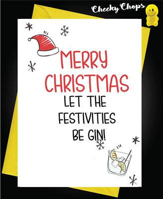 Funny Christmas Card Mum Dad Brother Sister Let the festivities be ginXM108 tweedehands  verschepen naar Netherlands