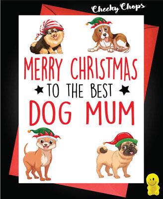 Funny Christmas Card Best Dog  Cute Animal Pet Joke Wife Friend Adult