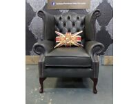Stunning NEW Chesterfield Queen Anne Wing Back Chair in Grey Leather - UK Delivery