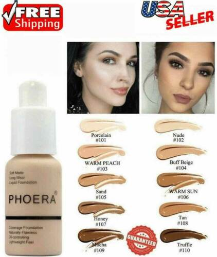 Phoera Foundation Makeup Liquid Base Full Coverage Brighten Long Lasting Shade