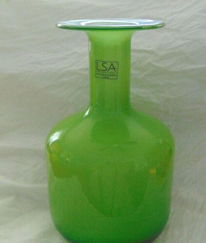 Lime Green & White Cased Art Glass Flange Vase Poland Mouth Blown