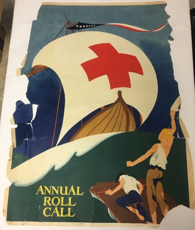 Vtg Red Cross Poster Foreign Country Denmark Annual Roll Call  1953