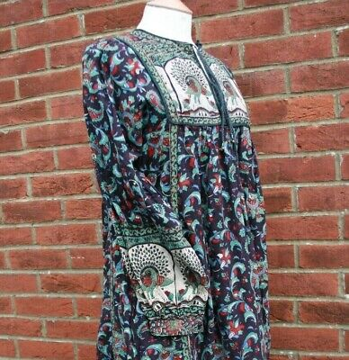Vintage 70s Indian Cotton Block Print Peacock Festival Dress Hippy 10/12/14