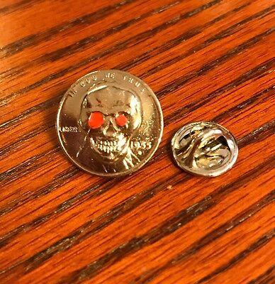 Skull Motorcycle Coin Pin For Biker Vest Jacket