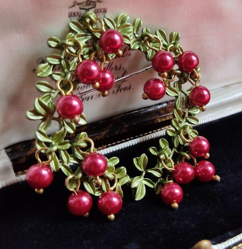 Art Deco Style Red Baroque Pearl Bead Cranberries Wreath Enamel Brooch Pin