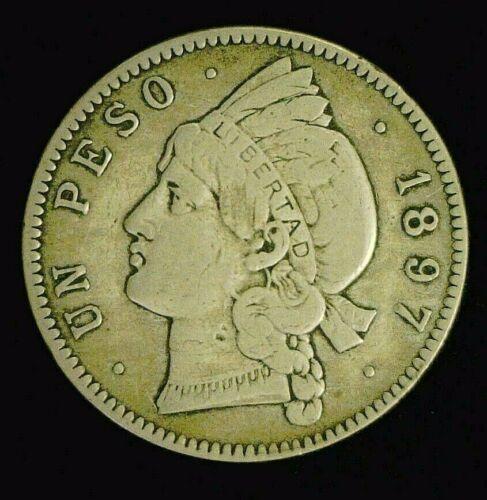 1897-A DOMINICAN REPUBLIC SILVER UN 1 PESO NICE 25 GRAMOS    (9275)