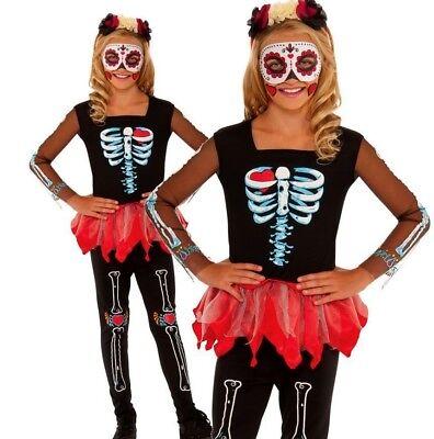Girls SCARED TO THE BONE Skeleton Voodoo Halloween Fancy Dress Costume Kids - Scared Children Halloween
