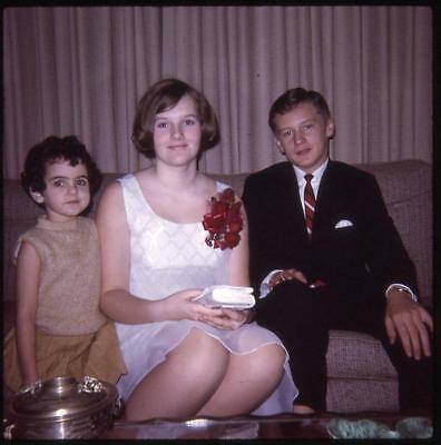Teen Couple Boy Girl Dressed For Prom Dance Little Sister Kid 1960s Slide Photo (Little Kid Couple)