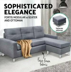 Linen Fabric Sofa Couch Outdoor Lounges Futon Suite Chaise