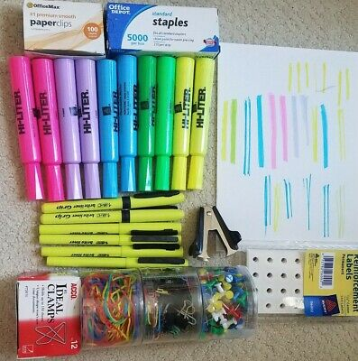 High Lighters Office Supplies Junk Drawer Lot Clips Staples Pin Pushers And More