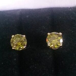Classic round green peridot 7mm, 18ct gold filled stud earrings BOXED Plum UK
