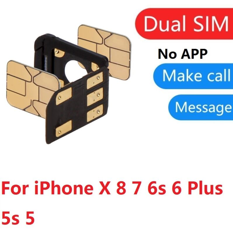 For iPhone X 8 7 6s 6 Plus Dual SIM Card Adapter SIMHUB Seperator Nano SIM Tray